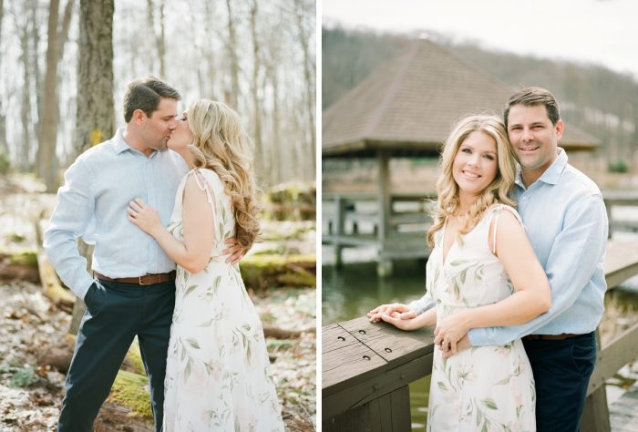 Brides to be in flowy floral print dress for engagement photos. See more engagement photo ideas at burghbrides.com.