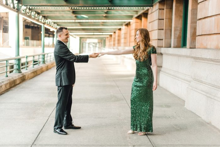 Glittering Engagement Session at The Pennsylvanian from Dawn Derbyshire Photography featured on Burgh Brides