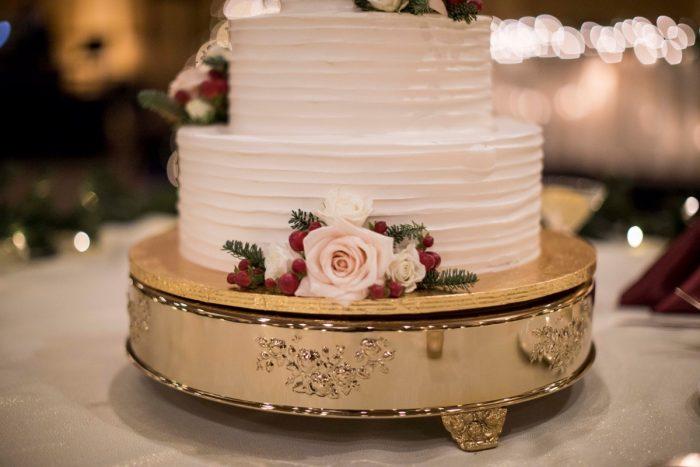 White Buttercream Wedding Cake: Warm December Embassy Suites Wedding from Dorosh Documentaries featured on Burgh Brides