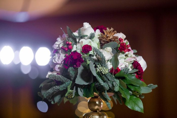 Cranberry and White Wedding Flowers: Warm December Embassy Suites Wedding from Dorosh Documentaries featured on Burgh Brides