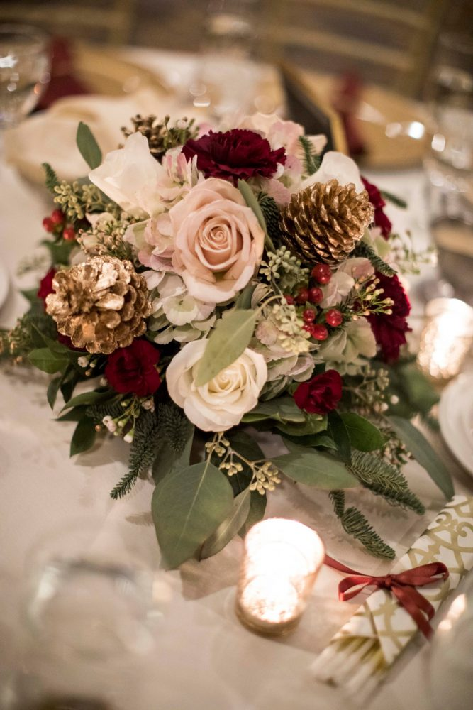 Christmas Wedding Flowers: Warm December Embassy Suites Wedding from Dorosh Documentaries featured on Burgh Brides