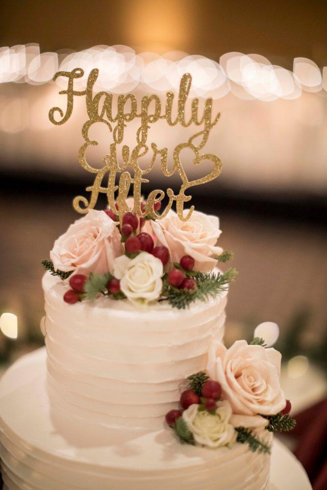 Gold Glitter Wedding Cake Topper: Warm December Embassy Suites Wedding from Dorosh Documentaries featured on Burgh Brides