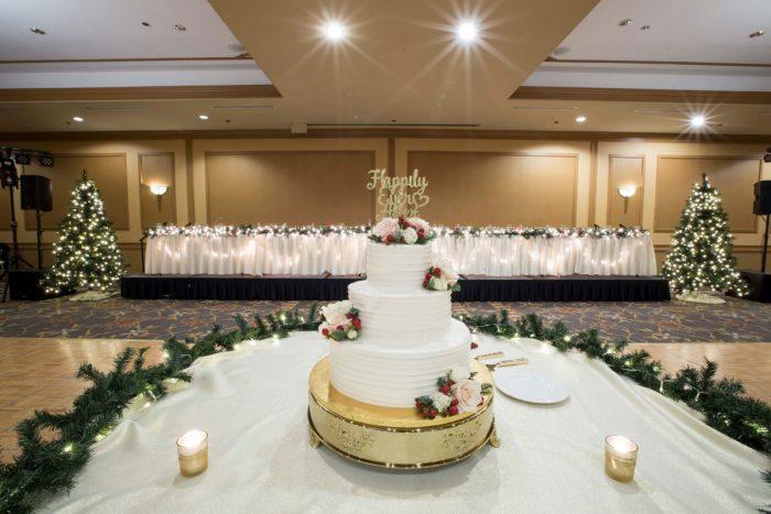 Christmas Wedding Cake: Warm December Embassy Suites Wedding from Dorosh Documentaries featured on Burgh Brides