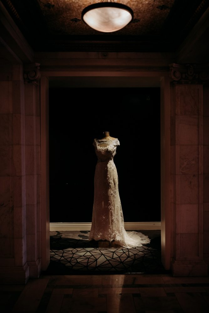 Lace wedding dress: Art Deco New Years Eve Pittsburgh Renaissance Hotel Wedding from Tyler Norman Photography featured on Burgh Brides