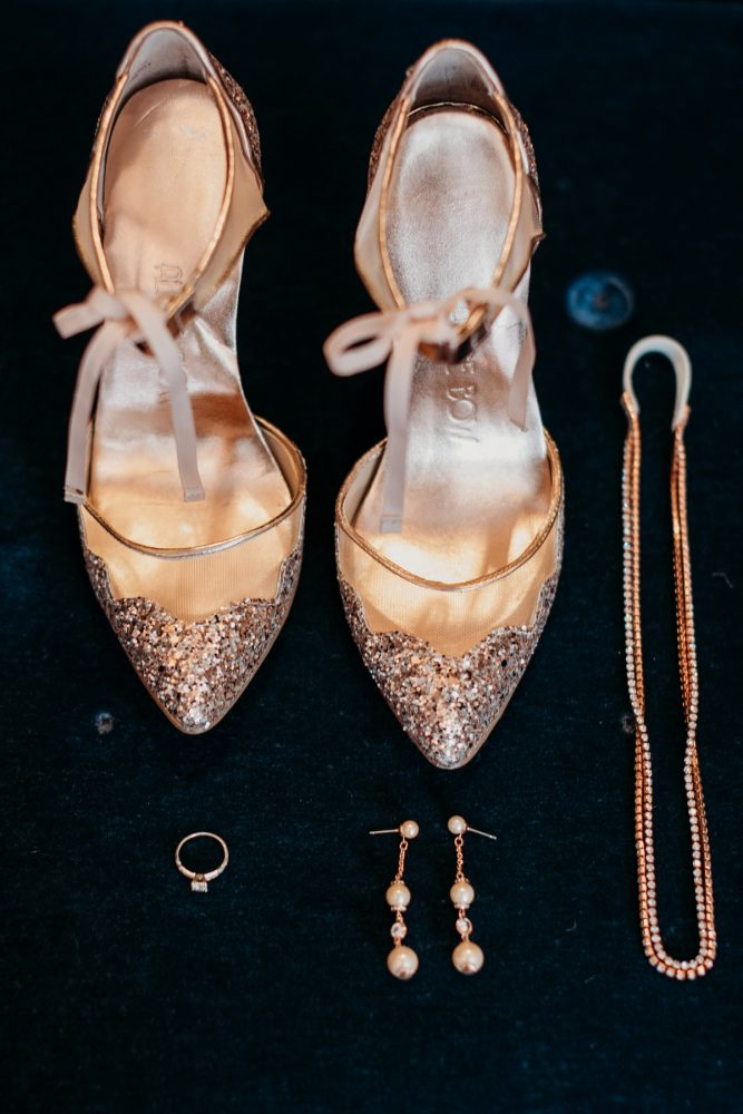 Rose gold glitter wedding shoes: Art Deco New Years Eve Pittsburgh Renaissance Hotel Wedding from Tyler Norman Photography featured on Burgh Brides
