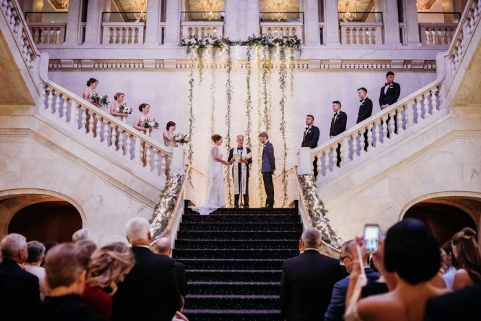 Renaissance Pittsburgh Hotel wedding ceremony: Art Deco New Years Eve Pittsburgh Renaissance Hotel Wedding from Tyler Norman Photography featured on Burgh Brides
