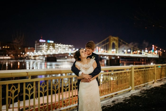 Roberto Clemente Bridge wedding photos: Art Deco New Years Eve Pittsburgh Renaissance Hotel Wedding from Tyler Norman Photography featured on Burgh Brides