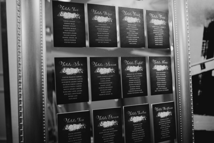 Mirror wedding seating chart: Art Deco New Years Eve Pittsburgh Renaissance Hotel Wedding from Tyler Norman Photography featured on Burgh Brides