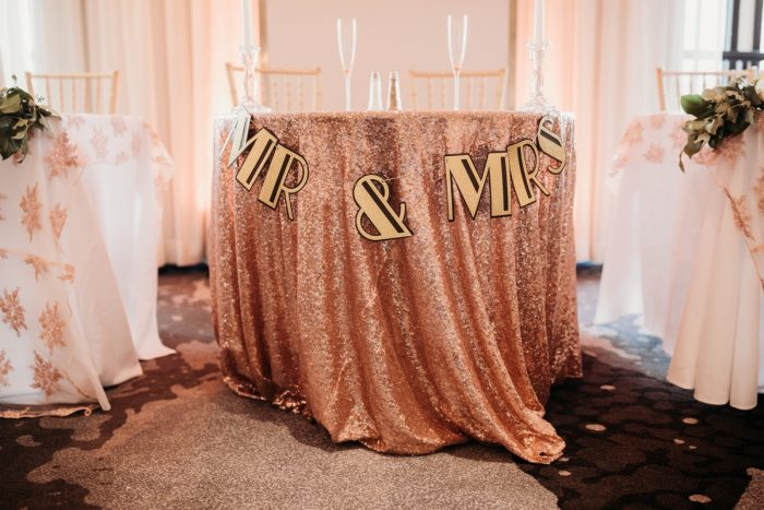 Art deco wedding sweetheart table: Art Deco New Years Eve Pittsburgh Renaissance Hotel Wedding from Tyler Norman Photography featured on Burgh Brides