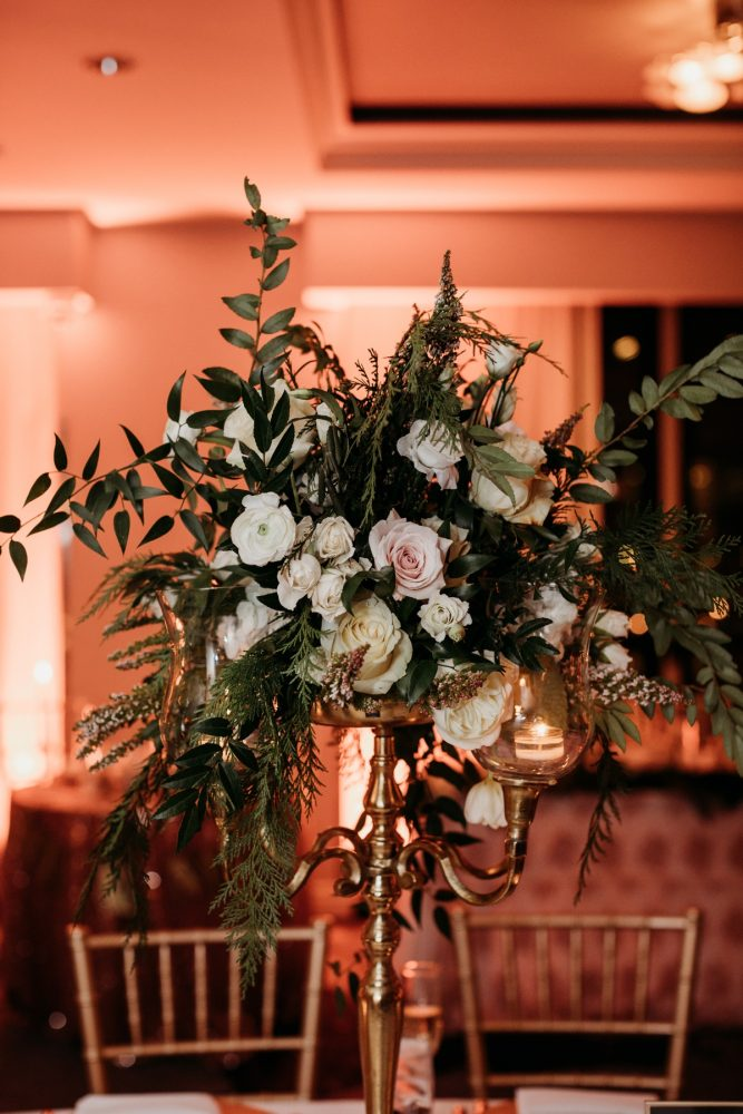 Art deco wedding flowers: Art Deco New Years Eve Pittsburgh Renaissance Hotel Wedding from Tyler Norman Photography featured on Burgh Brides