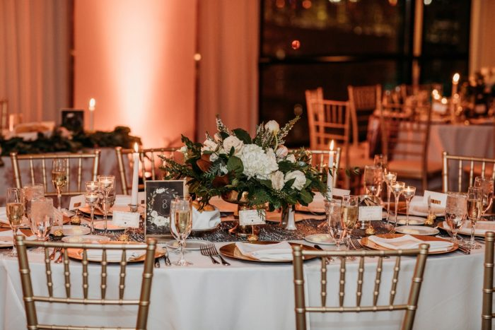 Amber wedding uplighting: Art Deco New Years Eve Pittsburgh Renaissance Hotel Wedding from Tyler Norman Photography featured on Burgh Brides