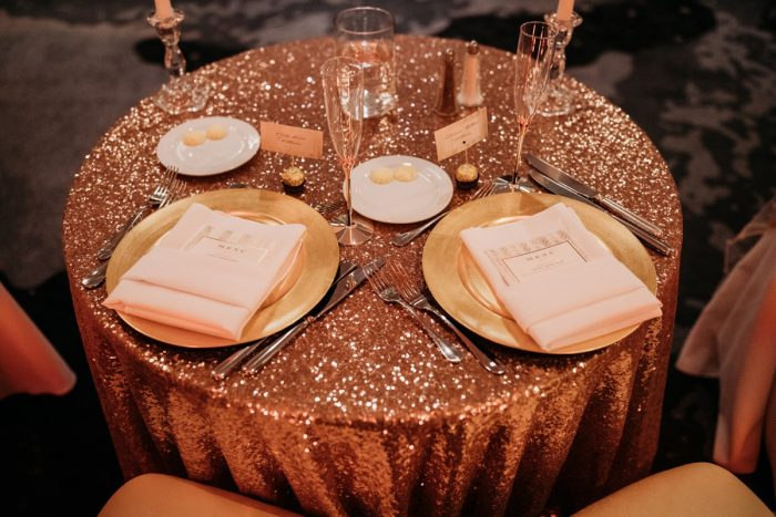 Rose gold wedding sweetheart table: Art Deco New Years Eve Pittsburgh Renaissance Hotel Wedding from Tyler Norman Photography featured on Burgh Brides