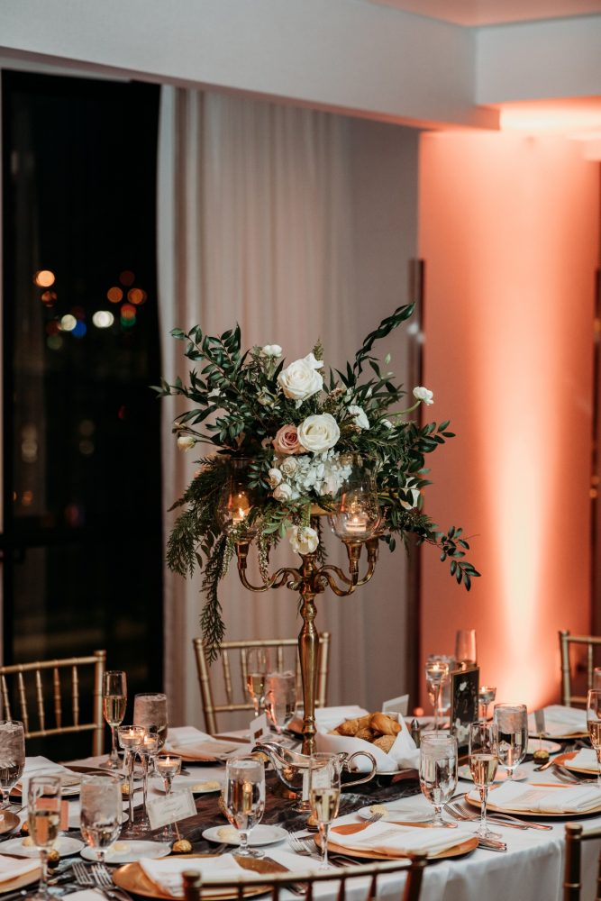 Art deco wedding centerpieces: Art Deco New Years Eve Pittsburgh Renaissance Hotel Wedding from Tyler Norman Photography featured on Burgh Brides