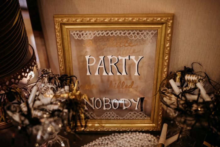 Art deco wedding signs: Art Deco New Years Eve Pittsburgh Renaissance Hotel Wedding from Tyler Norman Photography featured on Burgh Brides