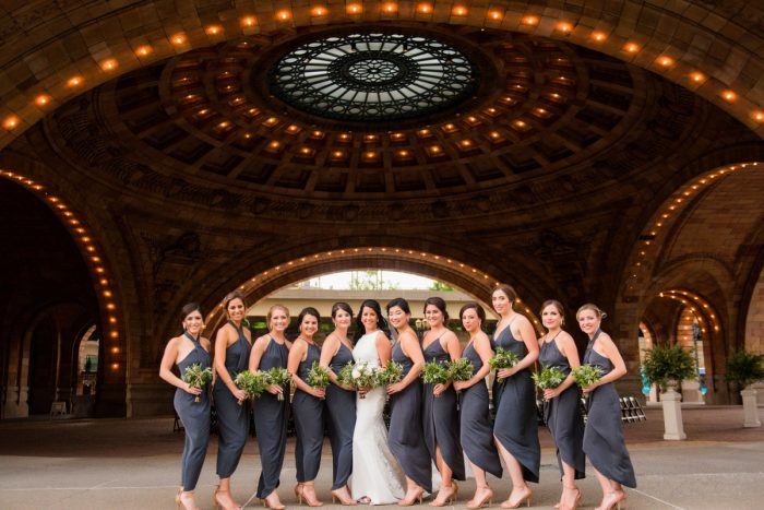Slate Gray Bridesmaids Dresses: Amalfi Coast Inspired Wedding at The Pennsylvanian from Bumbleburgh Events & Leeann Marie Photography featured on Burgh Brides