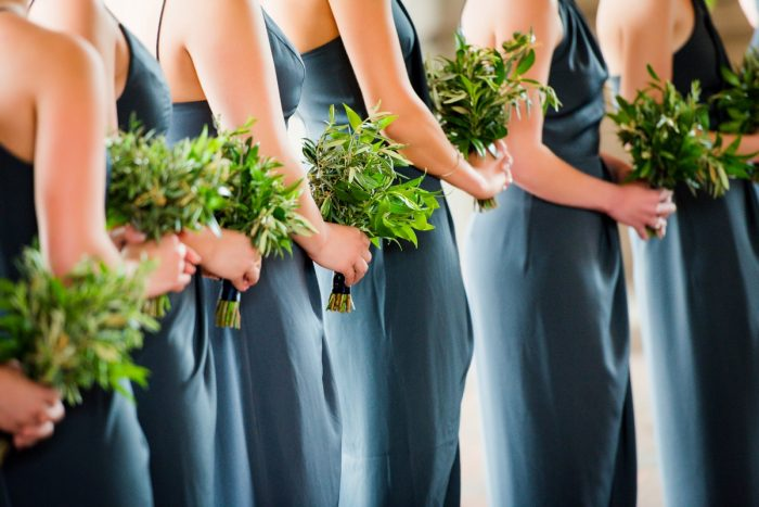 Slate Blue Bridesmaids Dresses with Greenery Bouquets: Amalfi Coast Inspired Wedding at The Pennsylvanian from Bumbleburgh Events & Leeann Marie Photography featured on Burgh Brides