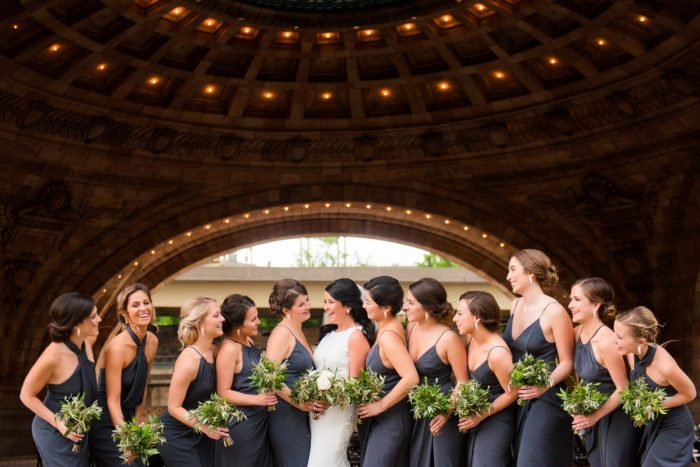 Slate Blue Bridesmaids Dresses Greenery Bouquets: Amalfi Coast Inspired Wedding at The Pennsylvanian from Bumbleburgh Events & Leeann Marie Photography featured on Burgh Brides