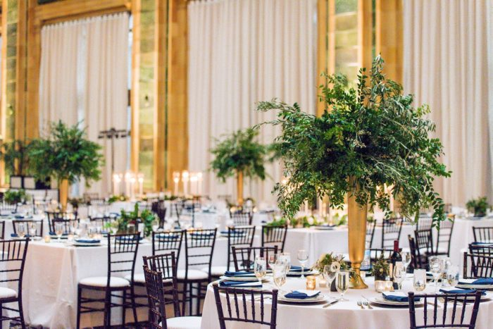 Tall Greenery Wedding Centerpieces: Amalfi Coast Inspired Wedding at The Pennsylvanian from Bumbleburgh Events & Leeann Marie Photography featured on Burgh Brides