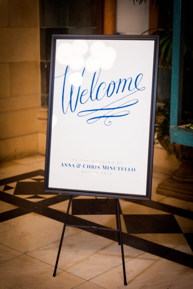 Wedding welcome sign: Amalfi Coast Inspired Wedding at The Pennsylvanian from Bumbleburgh Events & Leeann Marie Photography featured on Burgh Brides