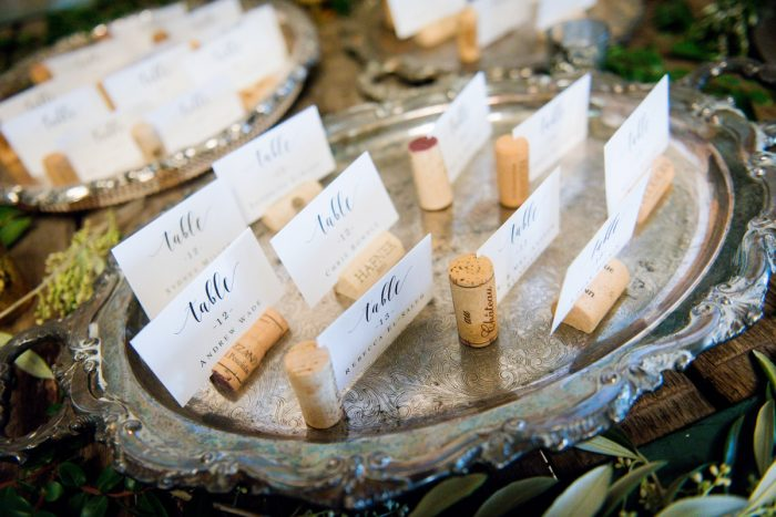 Wine inspired wedding escort cards: Amalfi Coast Inspired Wedding at The Pennsylvanian from Bumbleburgh Events & Leeann Marie Photography featured on Burgh Brides