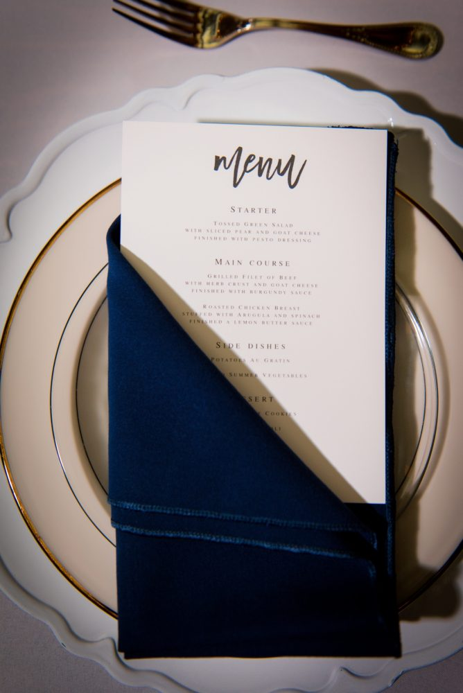 Wedding menu cards: Amalfi Coast Inspired Wedding at The Pennsylvanian from Bumbleburgh Events & Leeann Marie Photography featured on Burgh Brides