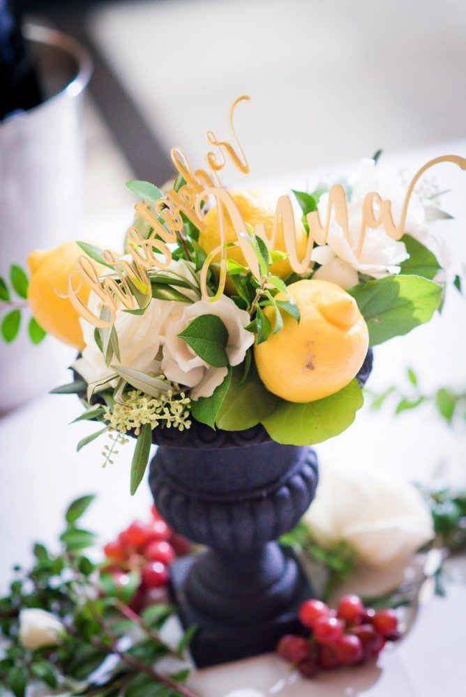 Fresh lemons in wedding centerpieces: Amalfi Coast Inspired Wedding at The Pennsylvanian from Bumbleburgh Events & Leeann Marie Photography featured on Burgh Brides