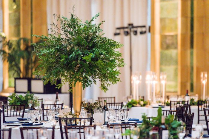 Greenery in tall gold vases: Amalfi Coast Inspired Wedding at The Pennsylvanian from Bumbleburgh Events & Leeann Marie Photography featured on Burgh Brides
