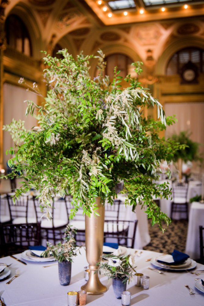 Olive leaves in wedding centerpieces: Amalfi Coast Inspired Wedding at The Pennsylvanian from Bumbleburgh Events & Leeann Marie Photography featured on Burgh Brides