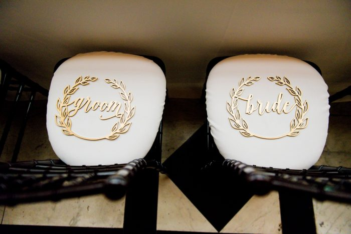 Bride and groom chair signs: v