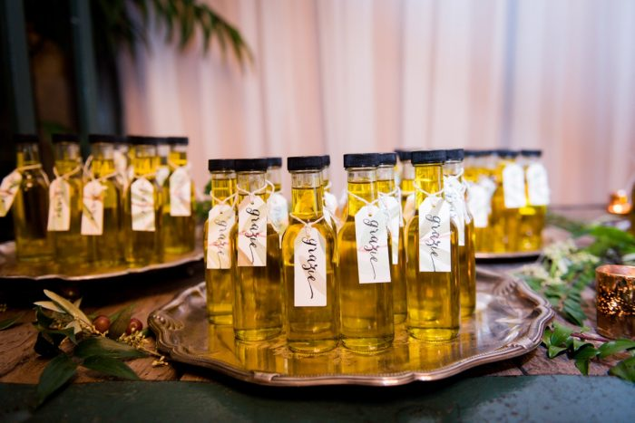 Olive oil wedding favors: Amalfi Coast Inspired Wedding at The Pennsylvanian from Bumbleburgh Events & Leeann Marie Photography featured on Burgh Brides
