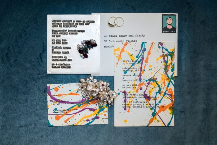 Paint Splattered Wedding Invitations: Cool & Colorful Surprise Warhol Museum Wedding from Caitlin's Living Photography and Exhale Events featured on Burgh Brides