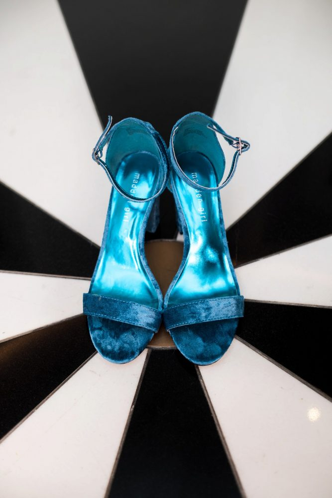 Blue Wedding Shoes: Cool & Colorful Surprise Warhol Museum Wedding from Caitlin's Living Photography and Exhale Events featured on Burgh Brides