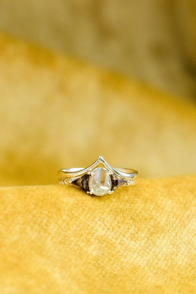 Oval Shaped Gold Engagement Ring: Cool & Colorful Surprise Warhol Museum Wedding from Caitlin's Living Photography and Exhale Events featured on Burgh Brides