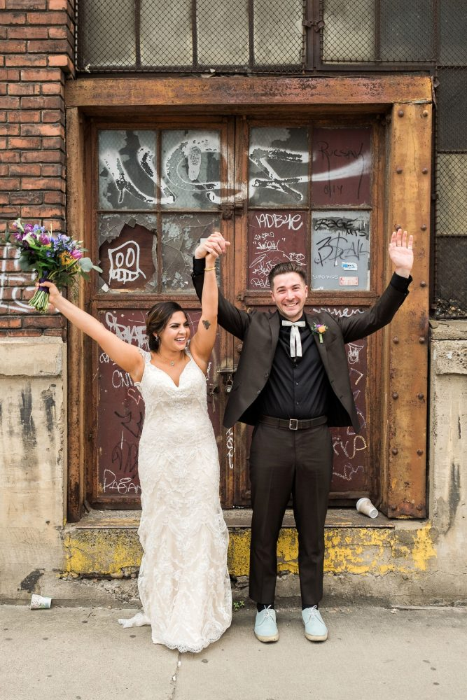 Gritty Wedding Photos: Cool & Colorful Surprise Warhol Museum Wedding from Caitlin's Living Photography and Exhale Events featured on Burgh Brides