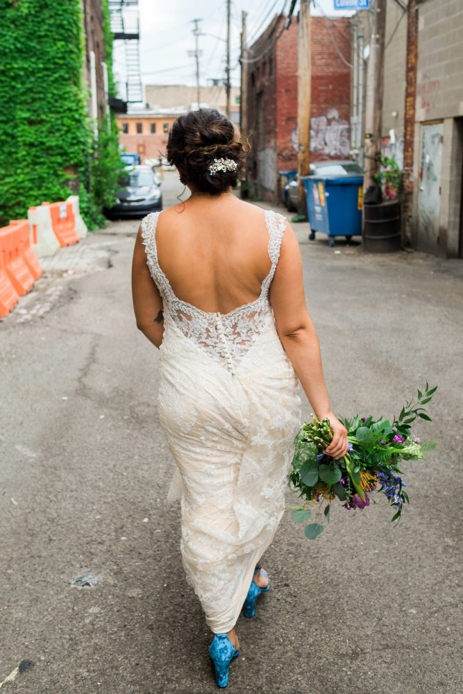 Scoop Back Wedding Dress: Cool & Colorful Surprise Warhol Museum Wedding from Caitlin's Living Photography and Exhale Events featured on Burgh Brides