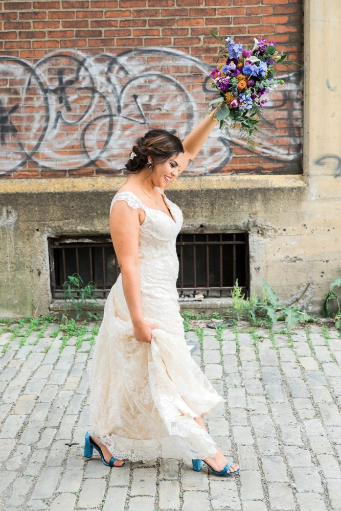 Cap Sleeve Wedding Dress: Cool & Colorful Surprise Warhol Museum Wedding from Caitlin's Living Photography and Exhale Events featured on Burgh Brides
