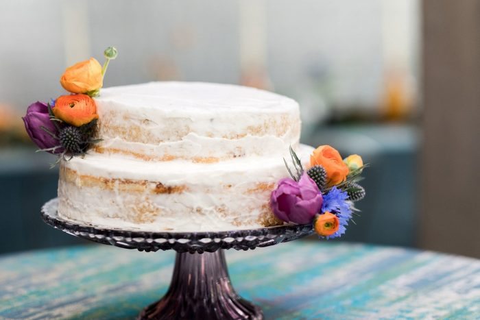 Semi Naked Wedding Cake: Cool & Colorful Surprise Warhol Museum Wedding from Caitlin's Living Photography and Exhale Events featured on Burgh Brides