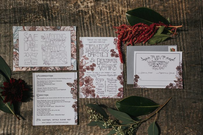 Floral Wedding Invitations: FALL in Love with This Enchanting Fernstone Wedding from Oakwood Photo + Video featured on Burgh Brides