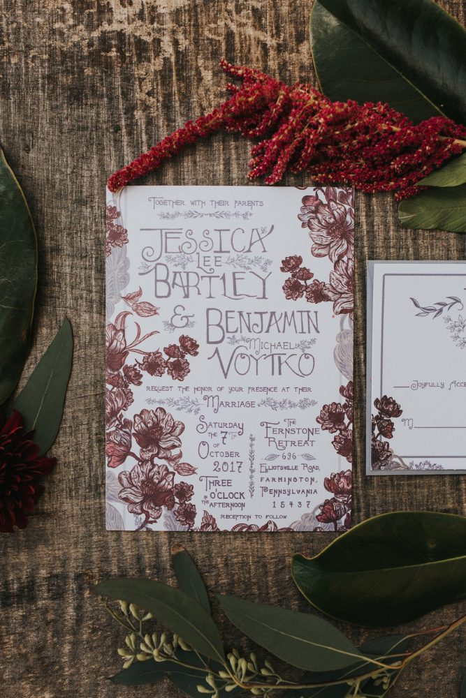 Burgundy Wedding Invitations: FALL in Love with This Enchanting Fernstone Wedding from Oakwood Photo + Video featured on Burgh Brides