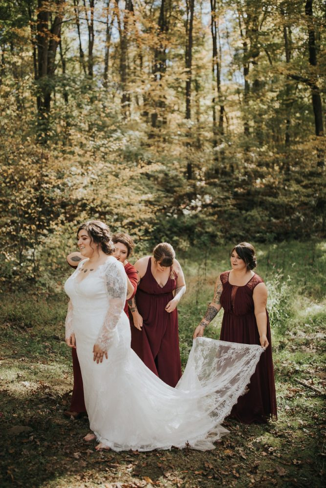 Burgundy Bridesmaids Dresses: FALL in Love with This Enchanting Fernstone Wedding from Oakwood Photo + Video featured on Burgh Brides