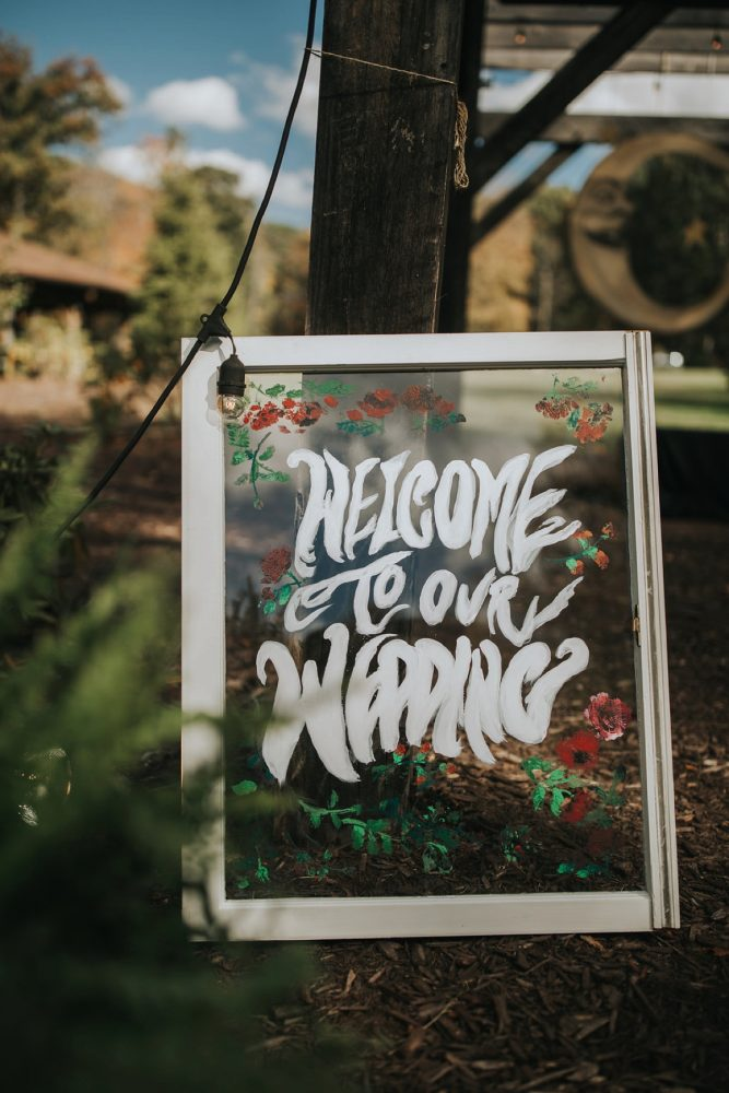 Wedding Welcome Sign: FALL in Love with This Enchanting Fernstone Wedding from Oakwood Photo + Video featured on Burgh Brides