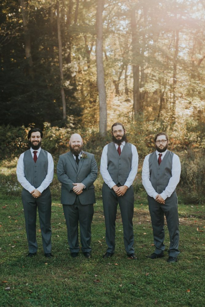 Groomsmen Gray Suits: FALL in Love with This Enchanting Fernstone Wedding from Oakwood Photo + Video featured on Burgh Brides