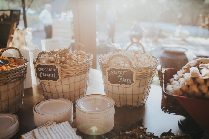 Wedding Popcorn Bar: FALL in Love with This Enchanting Fernstone Wedding from Oakwood Photo + Video featured on Burgh Brides