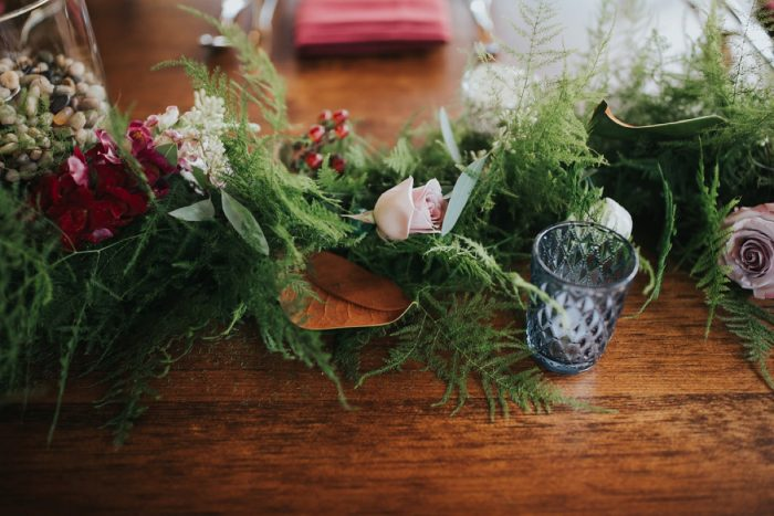 Greenery Table Runner: FALL in Love with This Enchanting Fernstone Wedding from Oakwood Photo + Video featured on Burgh Brides