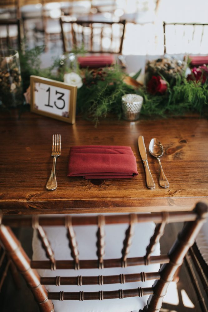 Wedding Place Setting: FALL in Love with This Enchanting Fernstone Wedding from Oakwood Photo + Video featured on Burgh Brides