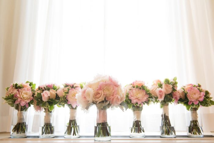 Pink Bridesmaids Bouquets: Elegant Spring Omni William Penn Wedding from Leeann Marie Photography featured on Burgh Brides