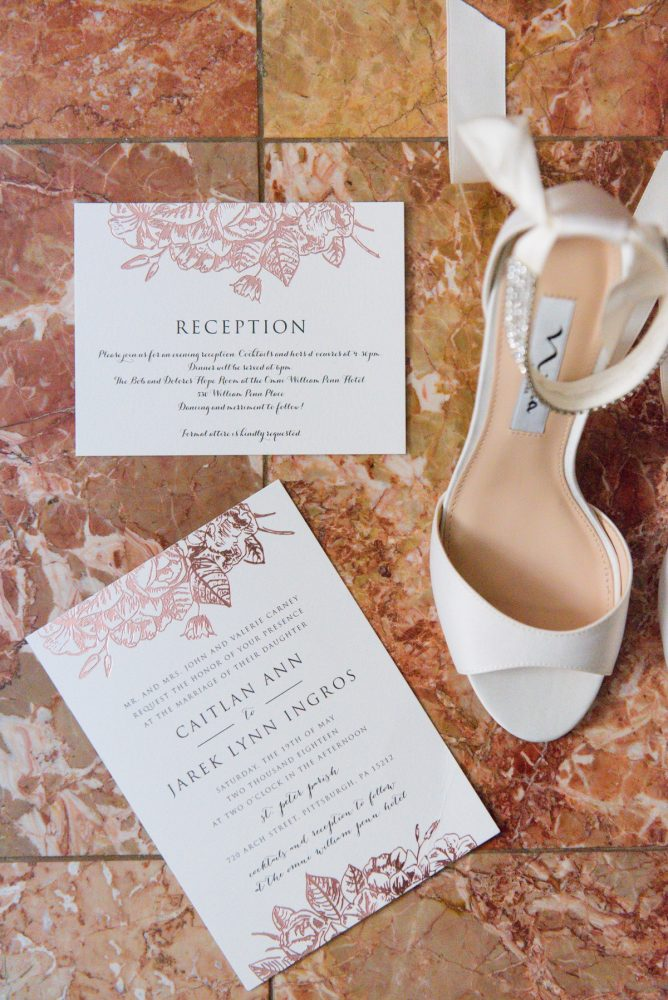 Rose Gold Wedding Invitations: Elegant Spring Omni William Penn Wedding from Leeann Marie Photography featured on Burgh Brides
