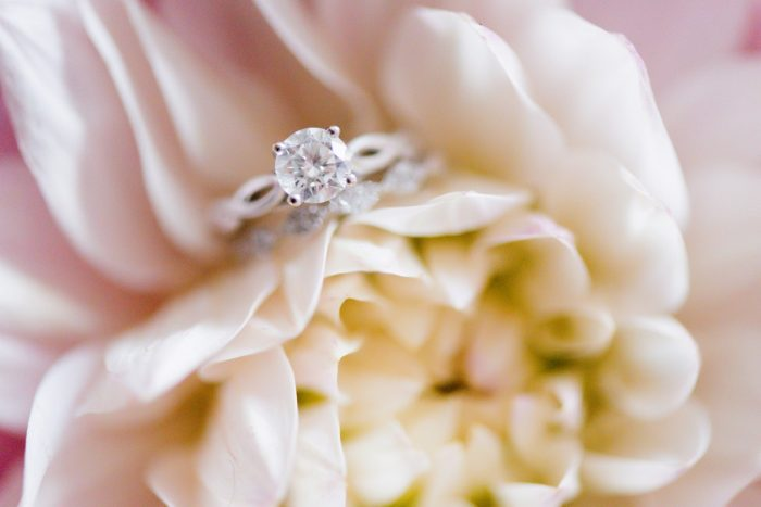 Round Diamond Engagement Ring: Elegant Spring Omni William Penn Wedding from Leeann Marie Photography featured on Burgh Brides