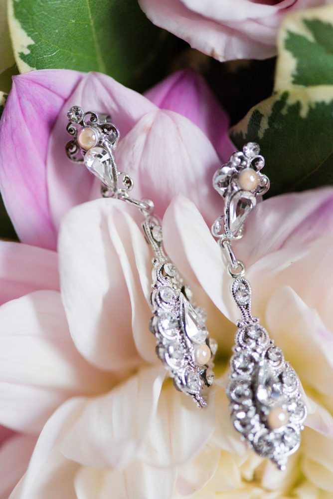 Crystal Drop Bridal Earrings: Elegant Spring Omni William Penn Wedding from Leeann Marie Photography featured on Burgh Brides
