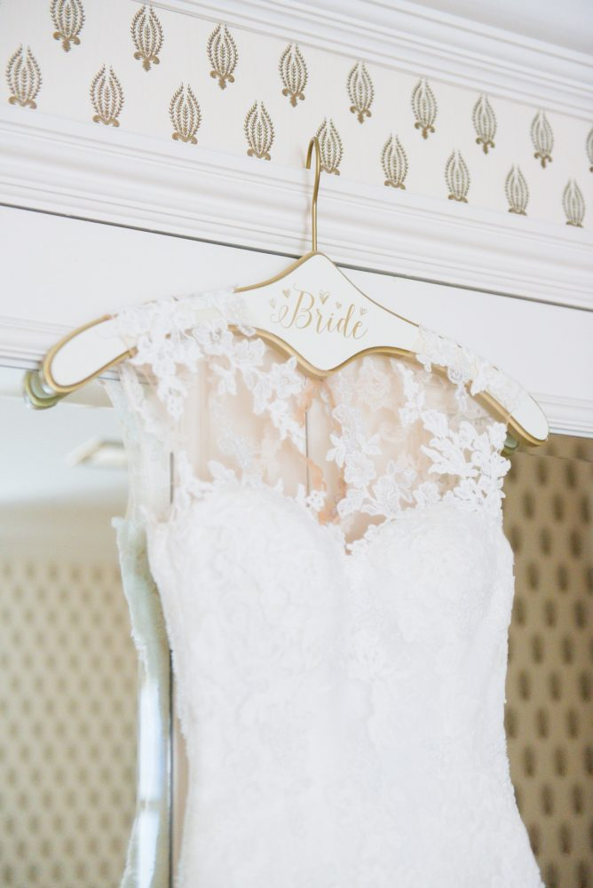 Lace Wedding Dress on Custom Bridal Hanger: Elegant Spring Omni William Penn Wedding from Leeann Marie Photography featured on Burgh Brides